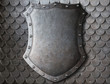 old medieval coat of arms shield over scales armour background - 75332909