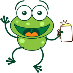 Green frog waving and celebrating with a glass of beer