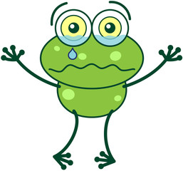 Green frog feeling sad and crying