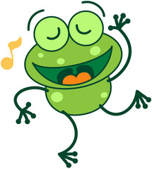 Green frog with musical note singing and dancing