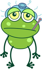 Green frog with thermometer and ice pack feeling sad and sick