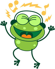 Green frog with earphones listening to music and dancing