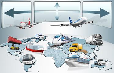 Weltkarte, Globus Transport Logistik