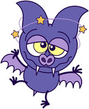 Purple bat walking unsteadily and feeling dizzy