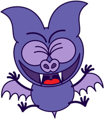 Purple bat feeling excited and celebrating