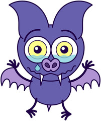 Purple bat feeling sad and crying