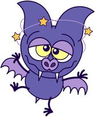 Purple bat walking unsteadily and feeling dizzy