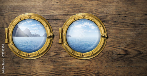 Keuken foto achterwand Zeilen Two ship windows with tropical sea or ocean island. Travel and