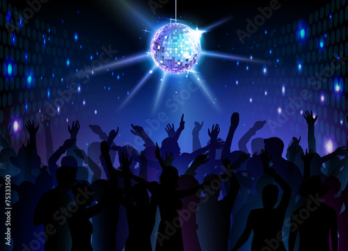 Disco ball background. Dancing people - 75333500