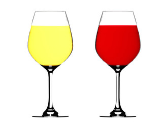Red and white wine in a glasses