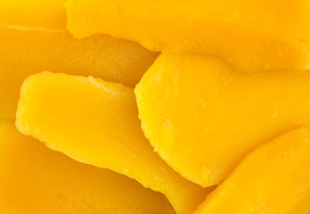 Canned mango slices close view