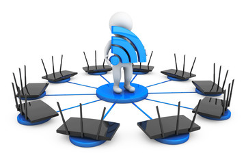 Routers around 3d Person with Wi-Fi sign