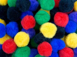 A very close view of craft pompoms