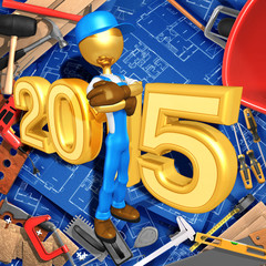 Construction Worker With The Year