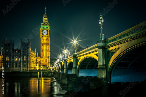 Poster Historisch mon. Big Ben and Houses of parliament at dusk, London, UK