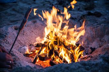fire on beach