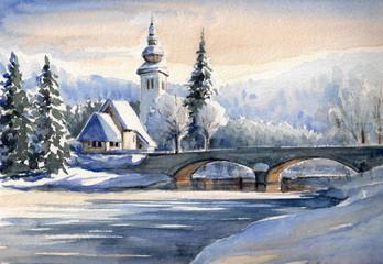 Winter landscape,Bohinj Slovenia.
