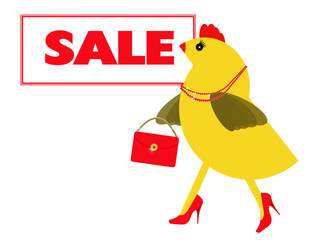 Spring chicken goes to the sales, shopping