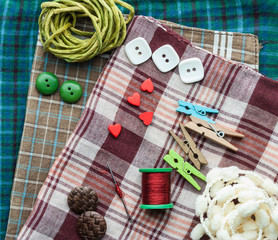 Various sewing supplies.