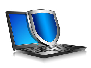 Notebook Laptop with shield - Internet security concept