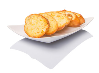 Homemade garlic bread of French baguette slices