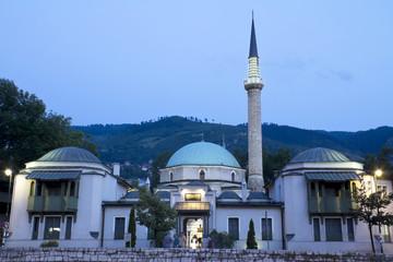 Careva Dzamija (Emperor's Mosque) at dusk
