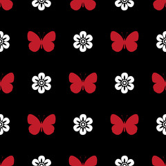 black, white and red seamless pattern butterfly