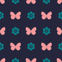 colored vintage seamless pattern butterfly