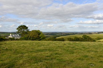 meadows in hilly countryside, Cornwall