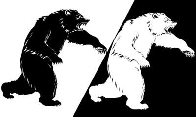 Bear silhouette black and white. Vector illustration
