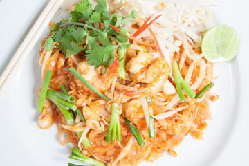 Thai food style , stir-fried rice noodles (Pad Thai)