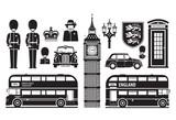 England, London, UK set of icons - 75340960