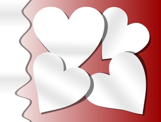 Red background with paper cut heart