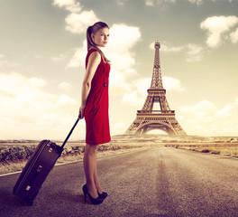 French voyage concept. Pretty lady over scenic Paris landscape