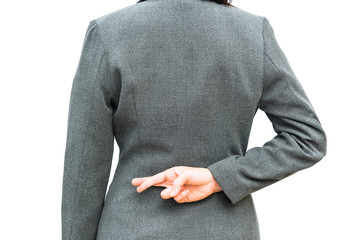 Businessman standing posture show hand with  cross finger sign