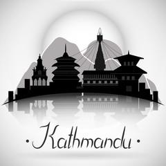 Kathmandu Nepal city skyline with reflection. Vector silhouette