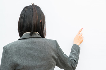 Businessman standing posture hand touch