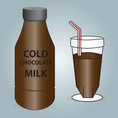 Bottle and Class of Cold Chocolate Milk