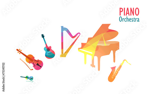 Piano Orchestra, Set of Music Instruments - 75341702