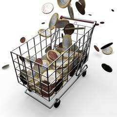 Carrello della spesa, soldi euro, supermercato, promozioni