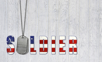 military dog tags for patriotic soldier