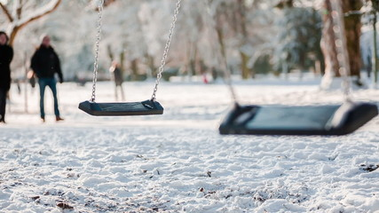 swing on sunny winter day