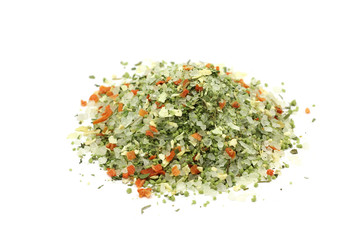 spicy salt with vegetables on a white background