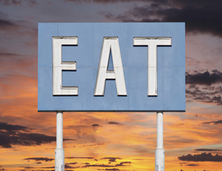 Vintage Blue Eat Sign with Sunset