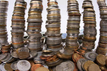 Stacks of Old Coins