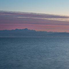 lake constance and swiss alps after sunset