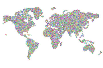 19330 square random colored pixels world map