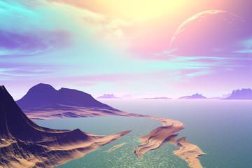 3D rendered fantasy alien planet. Rocks and sea