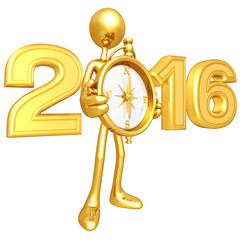 Gold Guy With Compass And The Year