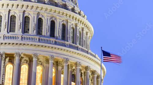 canvas print picture US Capitol Building Dome at dusk